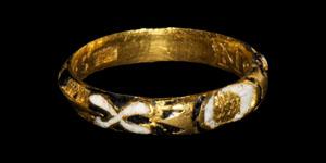 Post Medieval Morior ut videam HS Gold and Enamel Mourning Ring