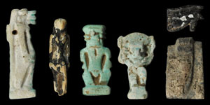Egyptian Group of Blue and Black Composition Amulets
