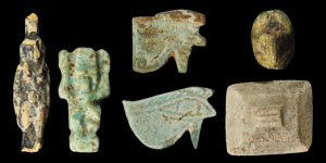 Egyptian Group of Blue and Grey Composition Amulets