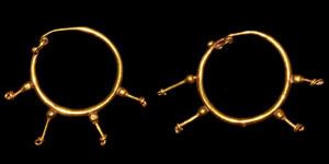 Roman Gold Hoop-and-Spokes Earrings