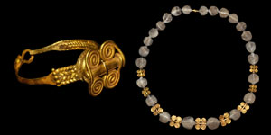 Sumerian Gold Necklace and Ring Set