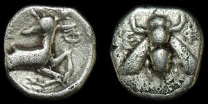 Greek Ionia - Civic Coinage - Bee and Stag Trihemiobol
