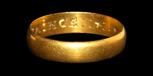 Post Medieval Mans Gold NEVER TO CHAINGE Posy Ring
