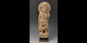 Gandharan Grey Schist Male Bodhisattva Figure