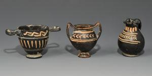 Greek Apulian Xenon Ware Black-Glazed Skyphos, Oinochoe and Kantharoid Krater