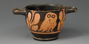 Greek Apulian Black-Glazed Owl Skyphos