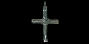 Medieval Silver Banded Cross Pendant