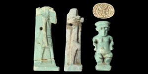 Egyptian Group of Blue, Green and Cream Composition Amulets