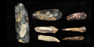 Stone Age Group of Neolithic Flint Axes and Blades