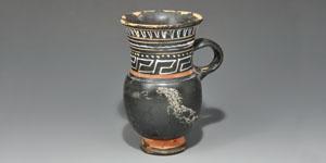Greek Gnathian Ware Black-Glazed Thistle Mug