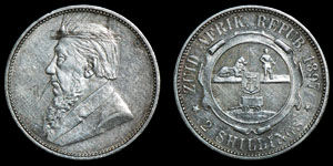 South Africa - Paul Kruger - Engraved 1897 Two Shillings