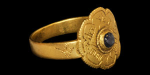 Medieval Gold Inscribed Cabochon Ring