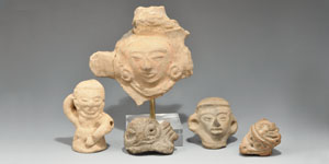 Pre-Columbian Mayan Heads and Whistle