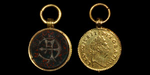 Post Medieval Bloodstone and Gold Third Guinea Fob