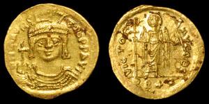 Byzantine Maurice Tiberius - Light Solidus (22 Siliquae)
