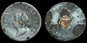 Ireland - James II 1690 - Pewter Emergency Halfpenny