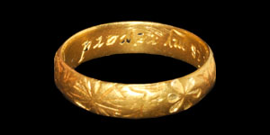 Post Medieval Gold Your regard is my reward Posy Ring