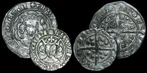 English Medieval - Edward III - Pre Treaty Series C Penny and Series G Halfgroat