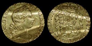 British Milled - George III - 1762 Quarter Guinea - Love Token