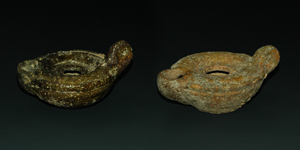 Roman - Two Glazed Oil Lamps