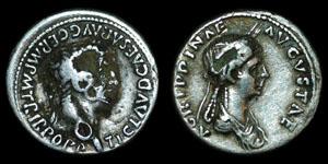 Roman Empire - Claudius and Agrippina Junior - Plated Denarius
