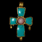 Byzantine - Gold and Turquoise Pendant Cross