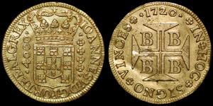 Portuguese Brazil - John V - 4,000 Reis - Bahia - 1720