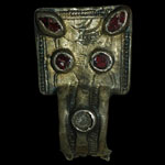 Merovingian-Frankish - Silver Gilt Square-Headed Brooch with Garnets