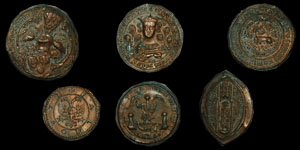 English Medieval - Six Electrotypes of Seal Impressions
