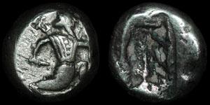 Achaemenid Kingdom - Xerxes II to Artaxerxes II - Persian King with Dagger - AR Siglos
