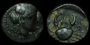 Greece - Italy - The Bruttii - Persephone and Crab - AE11