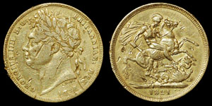 British Milled - George IV - 1821 - Sovereign