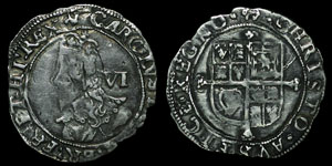 English Stuart - Charles I - Sixpence - Tower