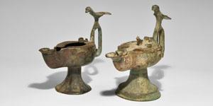 Islamic Persian Bronze Oil Lamp Group - Lot No. 1003