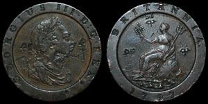 British Milled - George III - 1797 - Cartwheel Twopence - Countermarked