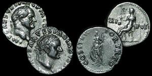 Roman Empire - Vespasian - Two Denarii