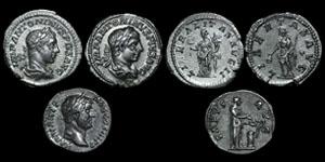 Roman Empire - Two Elagabalus and One Hadrian Denarii