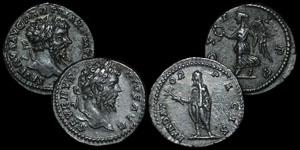 Roman Empire - Septimius Severus - Two Denarii