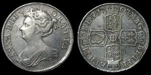 British Milled - Anne - 1707 - Halfcrown