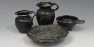 South Italian Black Glazed Pottery - Plate, Cup and Two Jars