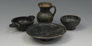 South Italian Black Glazed Pottery - Plate, 2 Cups and Jar