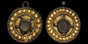 Post Medieval Gilt Fitting Pair