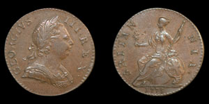 English Milled George III - 1773 - Regal Halfpenny