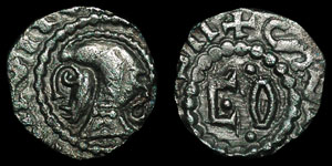 Anglo-Saxon - Extremely Rare Helmeted Type (Int90?) - Continental Sceatta