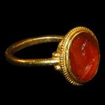 Roman - Gold Ring with Man Milking Goat Intaglio Gemstone
