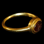 Roman - Gold Ring with Eagle Intaglio Gemstone