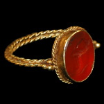 Roman - Gold Ring with Galloping Horse Intaglio Gemstone