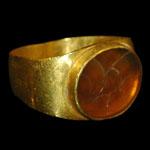 Roman - Gold Ring with Winged Figure Intaglio Gemstone
