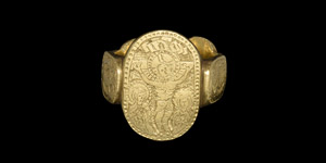 Medieval Massive Gold Iconographic Glove Ring with Saints