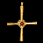 Byzantine - Gold Cross Pendant with Garnet Cabochon